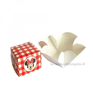 Portaconfetti Minnie Disney Party Rossa 7x7x7 cm - Scatole battesimo bimba