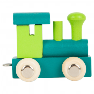 Locomotiva per trenino in legno con nome bambino