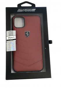 Ferrari Red Real Leather Cover iPhone 11