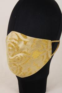 Mascherina in Tessuto Damasco tas giallo Lavabile