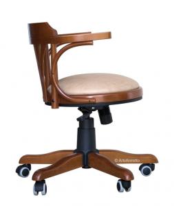 Padded swivel armchair in wood