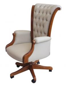 Wooden executive armchair buttoned backrest