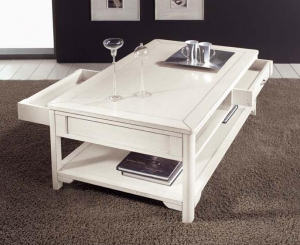 Rectangular coffee table with drawers
