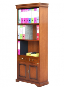 2-door bookcase with drawer
