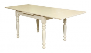 Extendable rectangular table with drawer