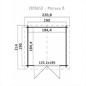 CASETTA LEGNO CM  210 X 210 SPESSORE MM 28   CON PAVIMENTO
