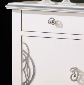 White and silver sideboard
