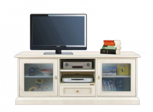 Low tv cabinet with glass doors