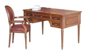 Wooden desk Louis XVI leather top