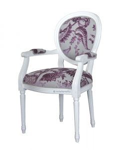Lacquered dining chair with armrests, Louis Philippe style