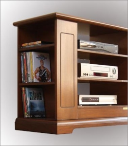 Wooden Tv stand with side shelving and glass door