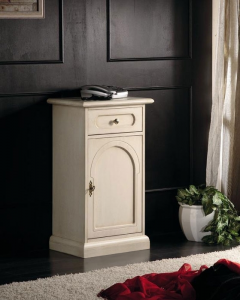 Lacquered side cabinet 1 door 1 drawer