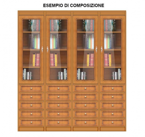 Space saving modular bookcase with glass door and drawers