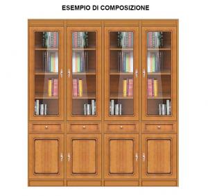 Multipurpose modular bookcase with glass door