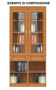 High modular bookcase with glass door
