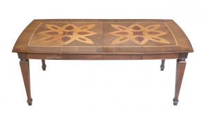 PROMO! Extendable dining table, inlaid flower, square shape