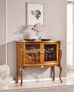 Shaped display cabinet high legs