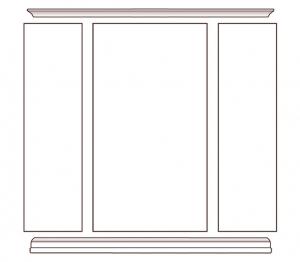 Glass door wall unit in wood