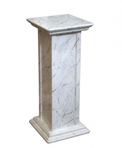 Wood pedestal stand marble finish