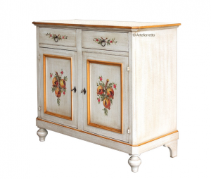Decorated sideboard in solid wood