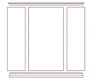 Wall display cabinet in wood