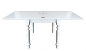 Lacquered flip-top table 100 x 100 cm