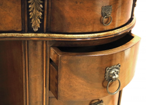Kidney-shaped desk with leather top