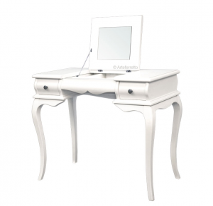 Flip top mirror vanity table in wood