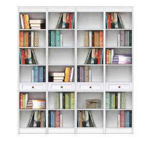 Open shelving wall unit in wood