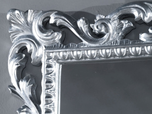 Wood carved mirror silver leaf