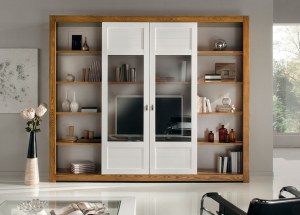 Sliding doors wall unit in wood