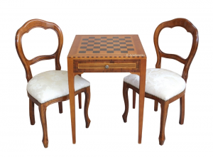 Chess board table in wood