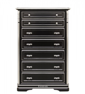Stylish chest of drawers in black with leaf details