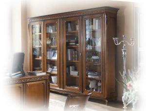 Glass door bookcase for living room