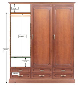 Modular wardrobe 3 doors 6 drawers