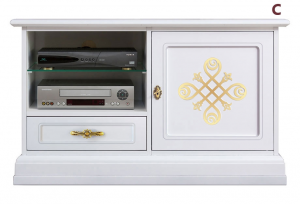 Lacquered tv cabinet with gold details
