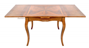 Inlaid square table with extensions on sides 100-180 cm
