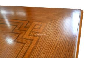 Flip top extending table oak inlay 100-200 cm
