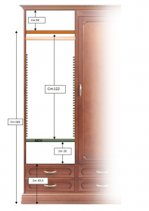 Storage wardrobe in wood 4 drawers