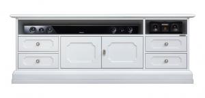 Lacquered tv unit soundbar compartment