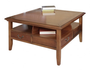 Solid square coffee table 4 drawers