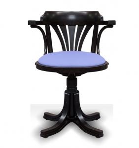 Black swivel armchair in beech wood
