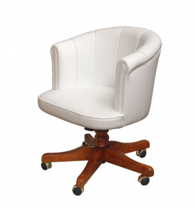 Leather swivel armchair for office