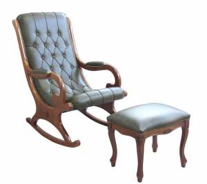 Rocking armchair with leather