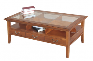Coffee table glass top and 3 drawers