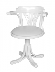 Swivel white armchair in wood