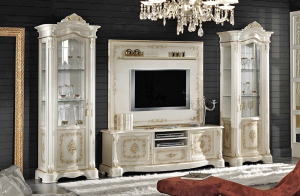 Decorated classic tv cabinet in wood