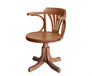Wooden swivel office armchair