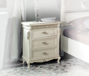 Classic nightstand with silver leaf
