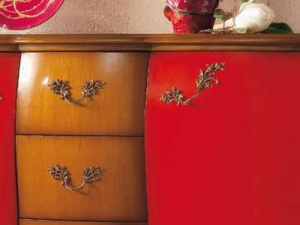 Shaped sideboard cherry and red
